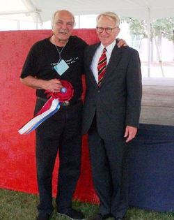 Jim Victor celebrates with Mayor Riley after winning the prestigious Mayor's Award at the Piccolo Spoleto Festival.