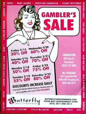 Gambler's Sale back at Butterfly Womens Consignment