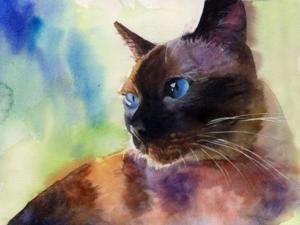 Rachel Parker Siamese Cat Painting